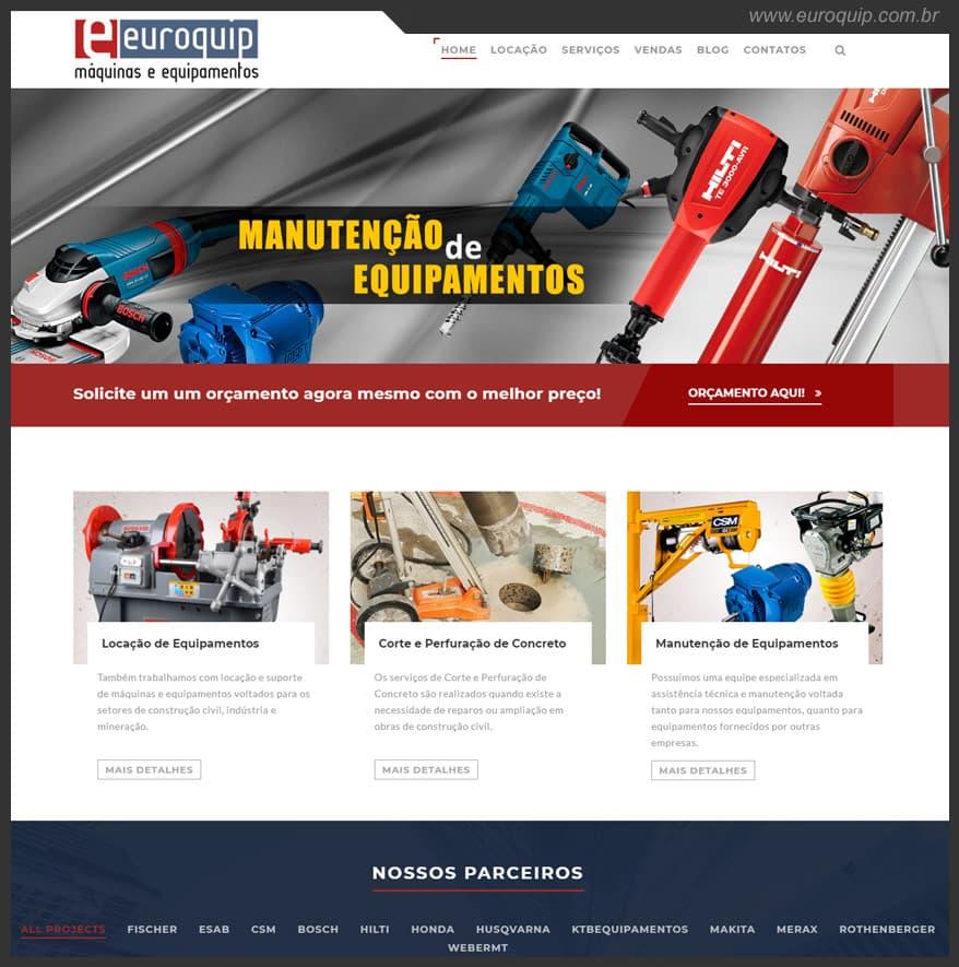 Site para empresas de locação de equipamentos